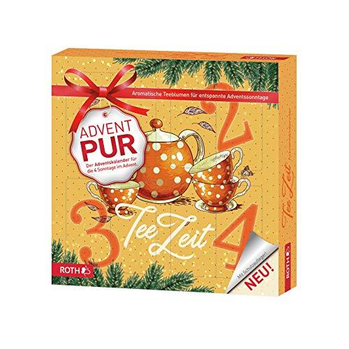 ROTH Adventskalender PUR 'Teezeit' mit 4 Türchen, für jeden Adventssonntag eines, enthält feine Tees und Teeblumen - 27x27x5cm