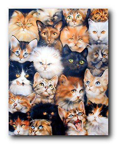 Poster mit niedlichen Katzenrassen, Collage für Haustiere, Kätzchen, Wanddekoration, Kunstdruck, 40,6 x 50,8 cm