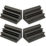 Acoustic Foam Bass Trap Studio Corner Wall 12' X 6' X 6' (4 PACK) Made in USA - Color: Charcoal