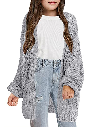 YONYWA Girls Cardigan Sweaters Open Front Cute Batwing Long Sleeve Causal Knit Solid Loose Sweater Size 5-14 Grey