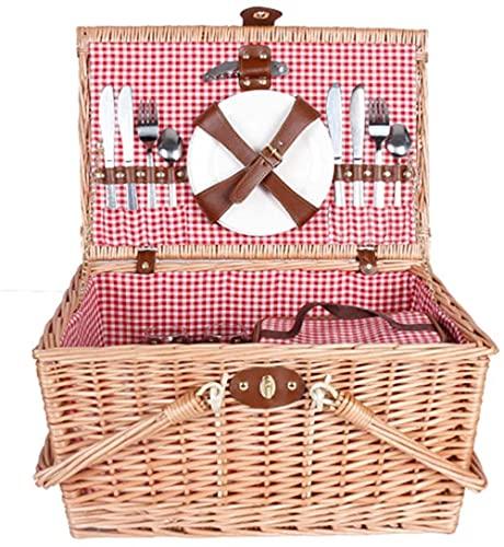 Cesta de picnic tejida cesta de camping al aire libre 4 personas cesta de picnic con cubierta pequeña cesta salvaje (color: beige