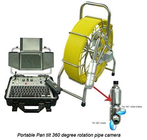 Carrete de cable de 60 m, rotación de 360 grados, 50 mm, acero inoxidable, cámara de inspección de tuberías con función de grabación HD DVR