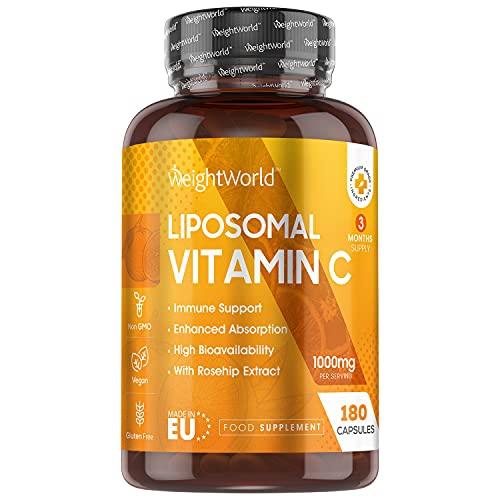 Vitamina C Liposomal 1000mg 180 Cápsulas Con Rosa Mosqueta - Suministro 3 Meses de Vitamina C Pura, Contribuye al Funcionamiento Normal del Sistema Inmunológico, Vegano
