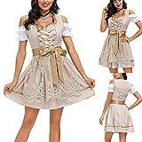 AOCRD Vestido tradicional bávaro para Oktoberfest, vestido bávaro para mujer, estilo moderno, con cuello en U, manga corta, tallas M y XL, caqui, XL