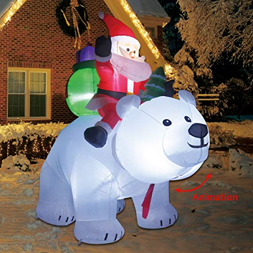 COMIN.NET 6 Feet Christmas Inflatable Outdoor Decoration Blow up Santa Clause Riding The Polar Animation Bear with Shaking Head -  ZHEJIANG DIJIU TOY CO.,LTD