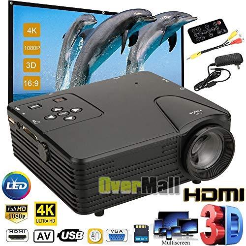 New 3D 1080P HD Home Multimedia Player Cinema Theater Mini LED Proyector USB AV TV VGA HDMI