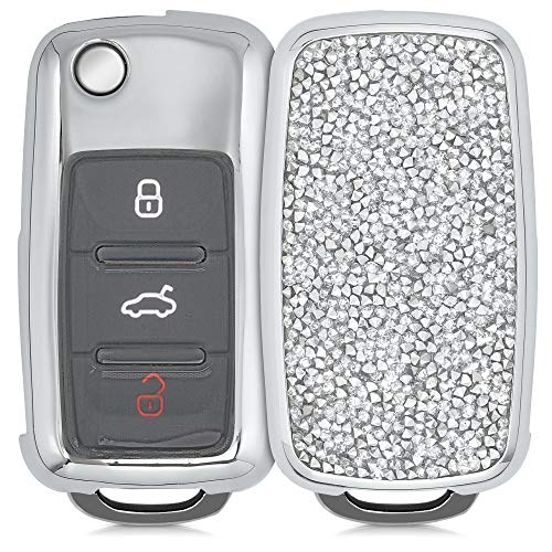 kwmobile Autoschlüssel Hülle kompatibel mit VW Skoda Seat 3-Tasten Autoschlüssel - Hardcover mit Strasssteinen - Silber