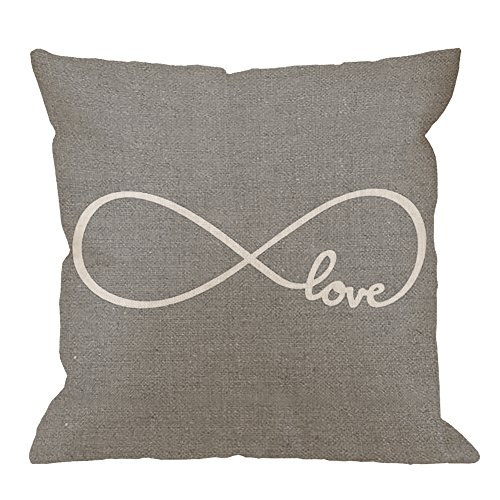 HGOD DESIGNS Throw Pillow Case Rustic Gray Love Cotton Linen Square Cushion Cover Standard Pillowcase for Men Women Home Decorative Sofa Armchair Bedroom Livingroom 18 x 18 inch