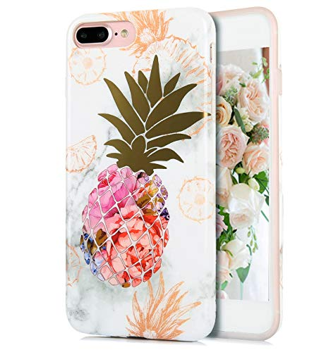 TRENSOM Colorful Pineapple iPhone 8 Plus Case iPhone 7 Plus Case Marble Floral IMD Hybrid Hard TPU Shockproof Phone Cases for Women Girls Men Boys[5.5']
