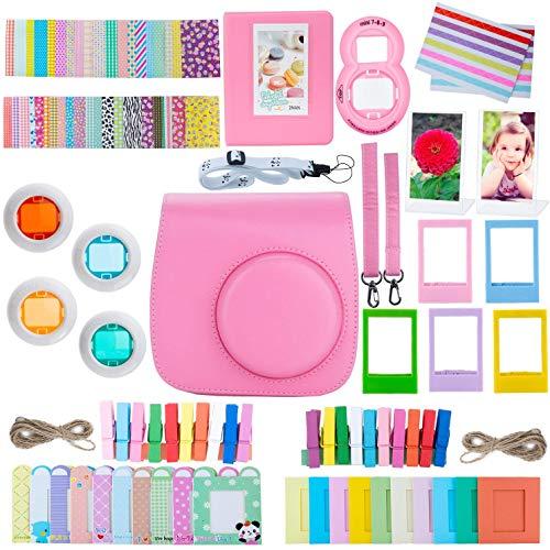 ZWOOS 12 in 1 Zubehör kompatibel mit Instax Mini 9/ Mini 8/ Mini 8+/ Mini 8S Sofortbildkamera, Kameratasche und Zubehör kompatibel mit Mini 9 Kamera(Flamingo Rosa)