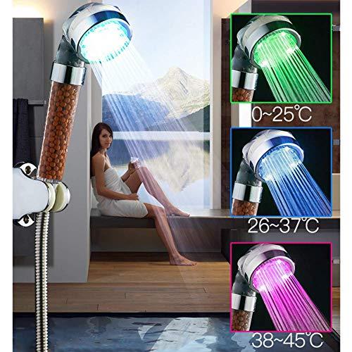 KANJJ-YU Ducha de mano, cabezal de ducha Spa de 3 colores LED de control de temperatura de luz filtro iónico LED de mano ducha elimina impurezas baño