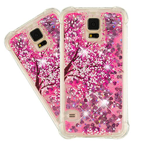 IMEIKONST Case para Galaxy S5, Glitter Liquid Brillante Sparkle Quicksands Cover Transparente Silicona TPU Anti-caída Protective Bumper Funda para Samsung Galaxy S5 Bling Cherry Blossoms YB