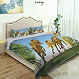 Homenon Bedding Sheet Modern Bed Sets 2 Massospondylus Running for Their Lives Yangchuanosaurus for Teen 3 Pieces (1 Quilt Cover, 2 Pillowcases) (King)