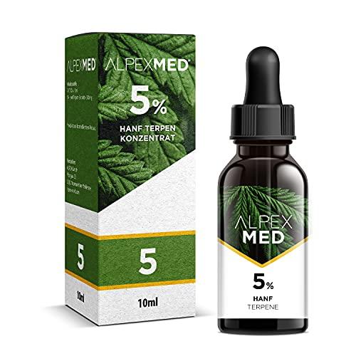 ALPEX-MED 5{1c3c8371a6f3468455ef455d23d0970846ff8837a8b9b10f84fa604a75be28cf} Premium Hanf Terpene Tropfen 10ml gelöst in bestem MCT Öl mit erfrischend mildem Geschmack - frei von THC