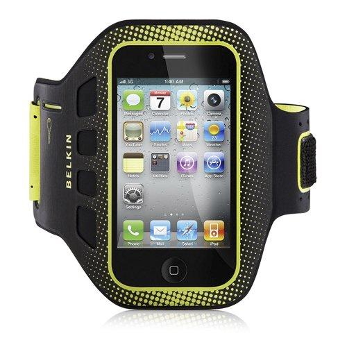 Belkin F8Z894cwC00 étui brassard de sport en Neoprène pour iPhone 4 et 4S Noir/Jaune (Accessoire)