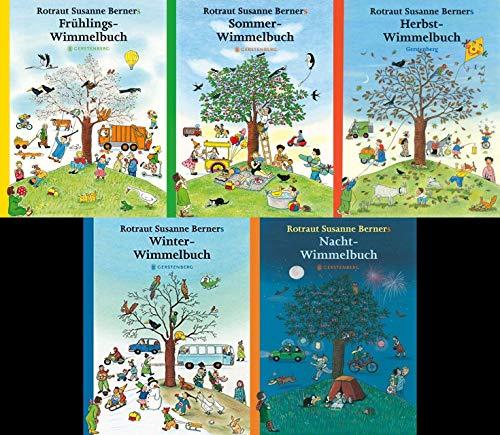 5 Wimmelbücher - Midi-Ausgabe (Frühling/Sommer/Herbst/Winter/Nacht) + 1 exklusives Postkartenset