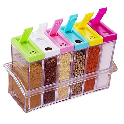 TXIN Set of 6 Spice Shaker Bottles & Jar Storage Containers