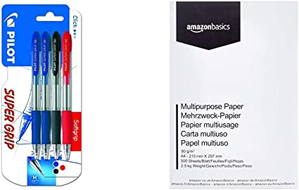 Pilot Spain Super Grip - Bolígrafo retráctil con tinta base aceite, 4 unidades, multicolor & AmazonBasics Papel multiusos para impresora A4 80gsm, 1 paquete, 500 hojas, blanco: Amazon.es: Oficina y papelería