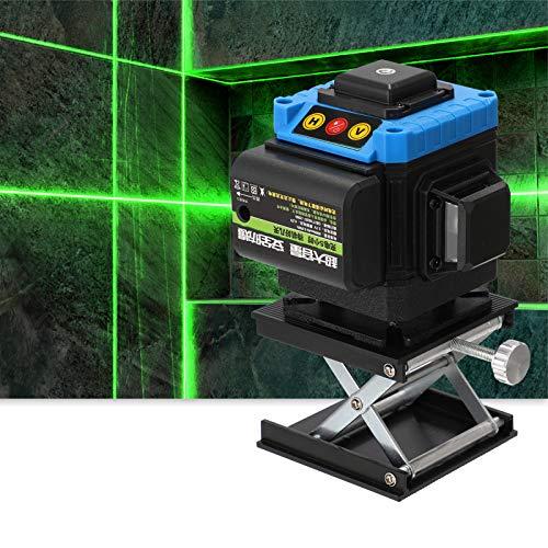 Galapare Nivel láser 12 líneas autonivelante 360 Grados, Multifuncional Teclas tocadas 3D Instrumento de medición de Nivel láser de 360 Grados Niveles Laser Verde Profesionales con Base