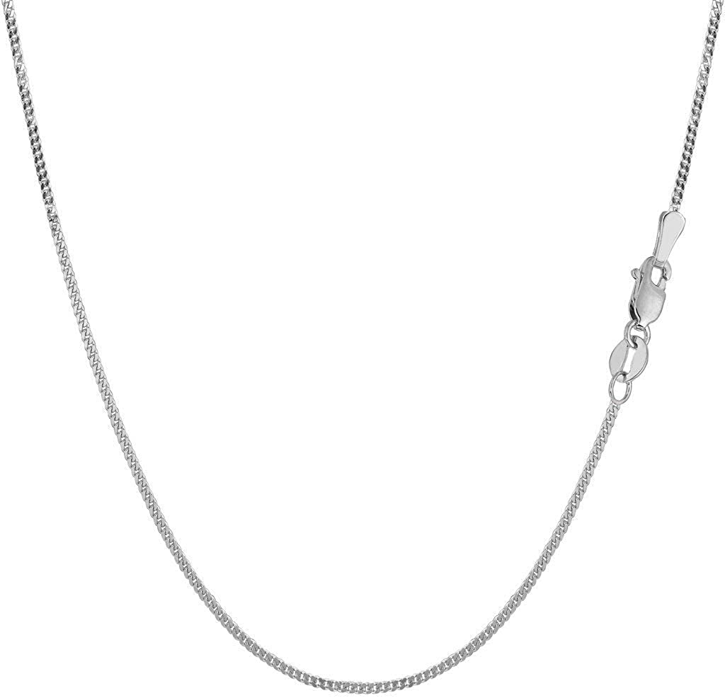 10k SOLID Yellow or White Gold 1.00mm Shiny Diamond-Cut Gourmette Chain Necklace for Pendants and Charms with Lobster-Claw Clasp (16