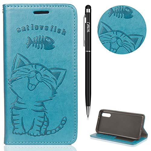 WIWJ Huawei P20 Pro Hülle,Huawei P20 Pro Case Leder, Prämie PU Klapphülle Leder Brieftasche[Impressum Cat Love Fish Handy Case] Schutzhülle für Huawei P20 Pro-Blau