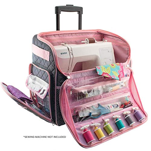Everything Mary Deluxe Quilted Pink and Grey Rolling Sewing Machine Tote  Sewing Machine Case Fits Most Brother amp Singer Sewing Machines Sewing Bag with Wheels amp Handle  Portable Sewing Case