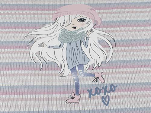 Stenzo Mädchen - Panel - Stoff mit XOXO auf Baumwoll Jersey in Streifen mit 95% Baumwolle und 5% Elasthan mit 200g/m² in der Größe: ca. 50 cm x 70 cm