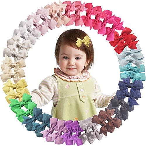 40 pinzas para cabello fino de 2 pulgadas con purpurina y lazo de grogrén, pinzas para el pelo de cocodrilo, totalmente forradas para bebés, niñas, niños y niños (20 pares)