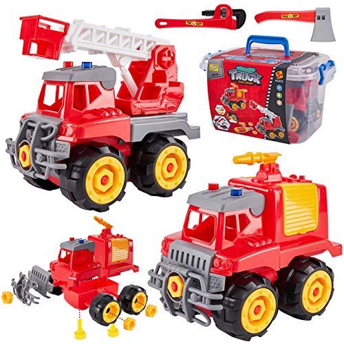 HERSITY 2 Piezas Camion de Bomberos Construccion Juguete con Herramientas Coches de Desmontar y Ensamblar Juguetes Juego Educativo Regalos para Nios 3 4 5 6 Aos