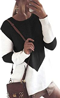 Womens Round Neck Sweater Pullover Long Sleeve Baggy Knitwear