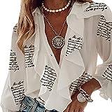 Charmlinda Camisa casual con cuello en V y volantes para mujer, manga larga, botones sueltos, blusa de gasa floral, Letra blanca., S