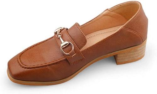 MEMIND Unique Chaussures Printemps Angleterre Sauvage Mary Jane Chaussures Femme Moyenne épaisse Loisirs Rétro Un Pied Ms Petit en Cuir Chaussures étudiant Mocassins Confortables