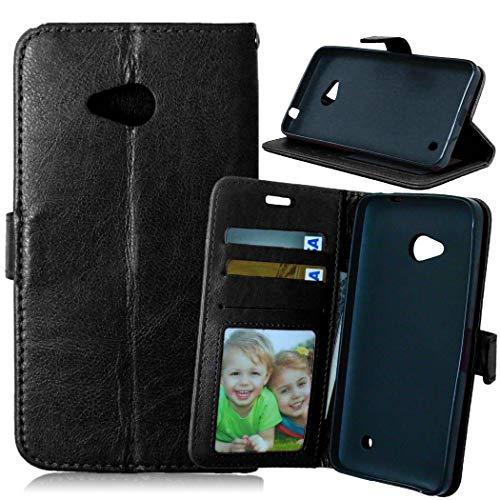 JEEXIA® Etui Schutzhülle Für Microsoft Lumia 640 Dual-SIM, Mode Geschäft PU Leder Lederhülle Flip Cover Brieftasche Innenschlitzen Mit Stand Function Design - Schwarz