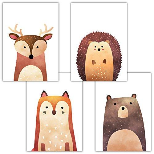 Frechdax® 4er Set Kinderzimmer Babyzimmer Poster Bilder DIN A4 | Mädchen Junge Deko | Dekoration Kinderzimmer | Waldtiere Safari Skandinavisch (4er Set Hirsch, Igel, Fuchs, Bär)