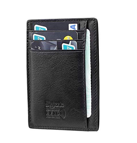 flintronic  Tarjetas de Crédito Slim Moda RFID Bloqueo Monedero de Cuero, Mini Billetera para Cartera ID,Tarjetero Crédito Licencia de Conducir Cartera Hombre