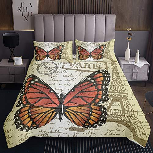 Juego de colcha de torre Eiffel para niñas con estampado de mariposas, estilo vintage, para niños, mujeres, diseño de insectos voladores, acolchado, tamaño individual