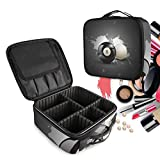 Bolas De Billar Negro Blanco Bolsa de Maquillaje Organizador de Cosméticos Portátil Estuche Mochila con Divisor Ajustable para Mujeres Niñas
