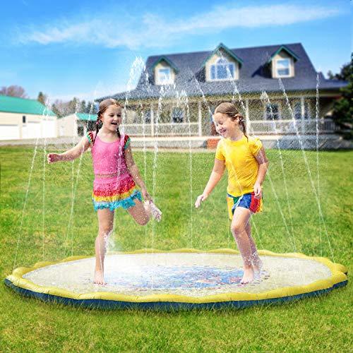 PELLOR Bambini Gioco Acqua, Spruzzi e Splash Tappeto Gioco d'Acqua da Giardino, Gioco da Giardino & Piscina all'aperto per Neonati e Bambini Piccoli