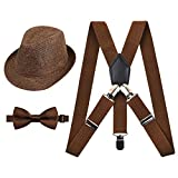 2.5cm Elastic Braces 3 Clip Suspender and Bow Tie Set with Hat for Kids, Coffee