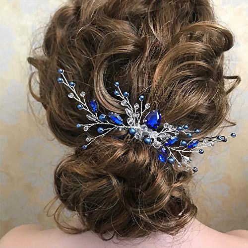 Aimimier Bridal Royal Blue Crystal Hair Comb and Earrings Sapphire Blue Pearl Hair Piece Set Prom Party Festival Wedding Hair Accessories for Women and Girls