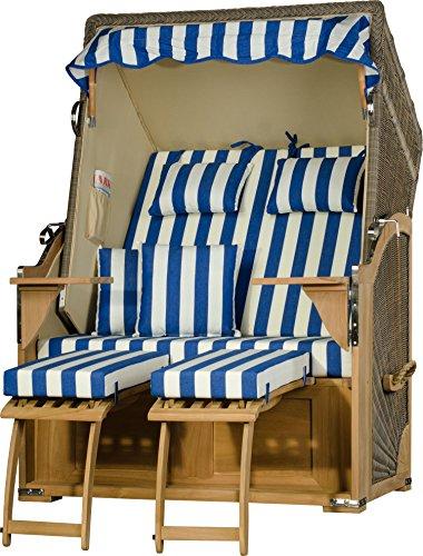 Möbelpromenade Strandkorb Juist Teak PE Grau Dessin Blau Weiß Strandkörbe fertig aufgebaut
