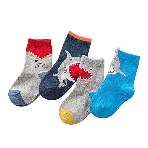 Anbaby Boys Athletic Socks Fashion Cotton Short Crew Socks (M/3-5years, Shark)