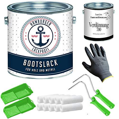 Bootslack MATT für Holz und Metall Cremeweiß RAL 9001 Weiß Yachtlack Yachtfarbe Bootsfarbe mit Lackier-SET (X300) und Verdünnung (1 L) // Hamburger Lack-Profi (5 L)