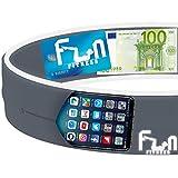Marsupio Running (Argento, X-Grande) – Cintura Da Corsa Premium Fitness - Migliore Compatibilità per Telefoni Grandi incluso iPhone e Samsung - Perfetta per Esercizio, Allenamento & Attività all'Aperto