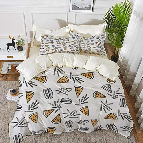 Duvet Cover Set, Bed Sheets, Burgers and Pizza Food White,Microfibre Duvet Cover Set 200 x 200 cmwith 2 Pillowcase 50 X 80cm