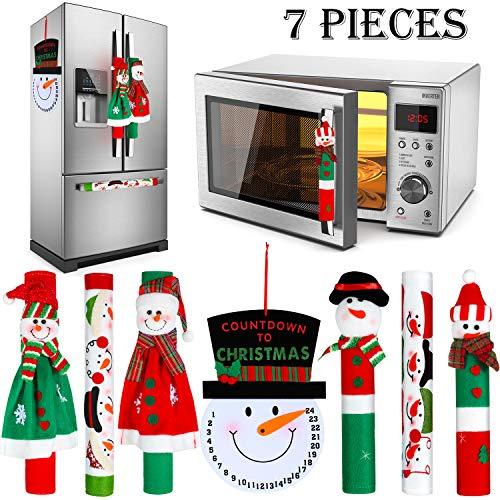 Gejoy 7 Stück Weihnachten Kühlschrank Griff Abdeckungen Set Schneemann Kühlschrank Türgriff Abdeckung und Schneemann Advent Uhr Kalender für Weihnachten Küche Gerät Griff Dekoration