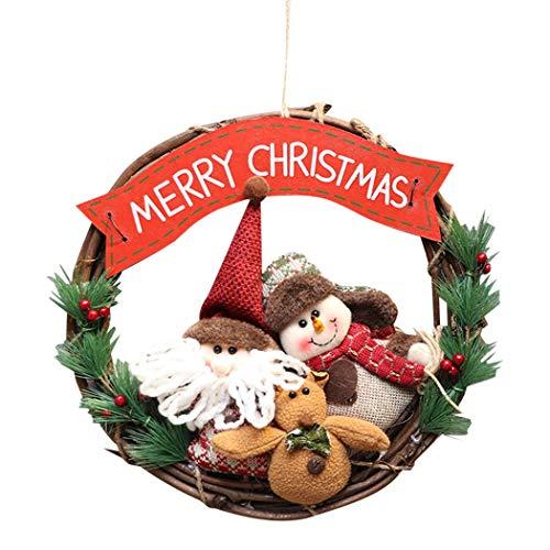 COOFIT Kerst Krans Rustieke Pop Pine Naald Ophangbord Deur Krans Opknoping Decor