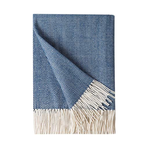 Bourina Decorative Herringbone Faux Cashmere Fringe Throw Blanket Lightweight Soft Cozy for Bed or Sofa Farmhouse Outdoor Throw Blankets, 50 x 60, Navy