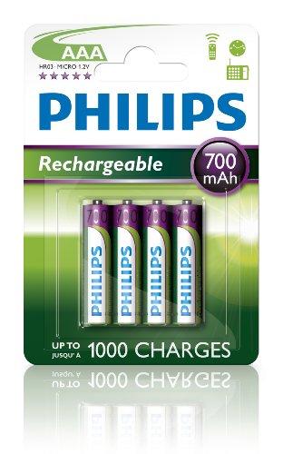 PHILIPS R03B4A70/10 Batterien AAA Wiederaufladbar - 4 Stück - 700 mAh - 1.2V