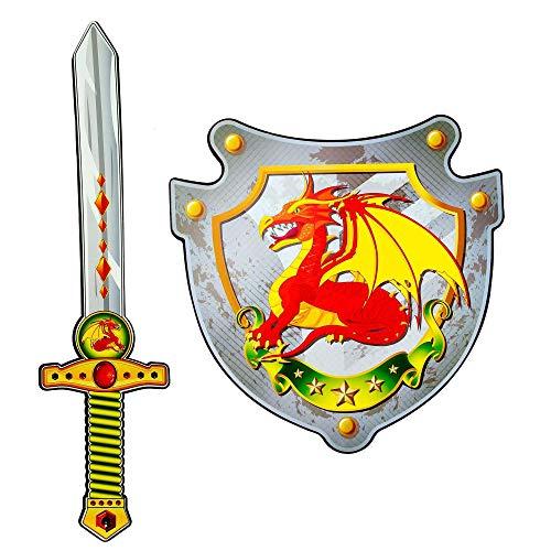 WIDMANN 97304 – Espada y escudo de espuma suave, para niños, caballeros, espada de juego, arma de juego, fiesta temática, carnaval